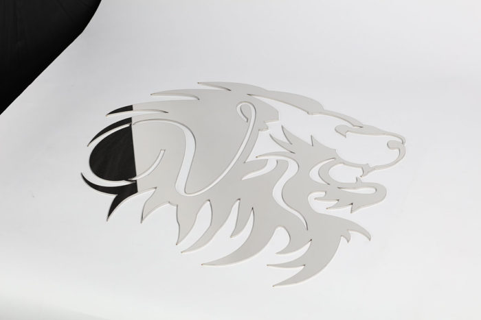 lion head cut out of alloy